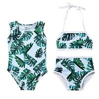 2018 Brand New Toddler Infant Child Baby Girl Kid Swimsuit Bathing Tankini Bikini Set Swimwear Beachwear Leaves Swimwear 1-6T