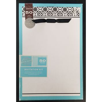 Black and White Wedding Invitation and Response Card Kit - 50 Count
