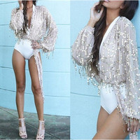 Sequined Tassel Tie-Front Long Sleeve Top