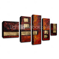 Hand-painted Abstract Oil Painting with Stretched Frame - Set of 5 - USD $ 139.99