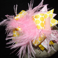 Over The Top Boutique Hairbow..Pretty In Pink and Yellow Spikey Layered Boutique Bow and Headband..Great for Newborn Toddler big Girl