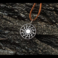 Black Sun Symbol Necklace Amulet Sterling Silver Pendant Pagan Jewelry