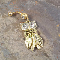 Gold Owl Belly Button Jewelry with Free Flowing Feathers