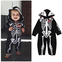 Black Newborn Baby Girls Boys Rompers Clothes Halloween Warm Hooded Zipper Long Sleeve Jumpsuit Outfits Baby Boy Cotton Costume