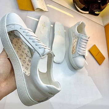 2021 LV Louis Vuitton Women Leather HIGH Top Sneakers Shoes WHITE