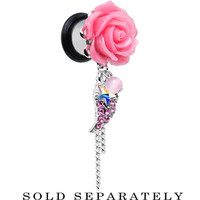 00 Gauge Pink Gem Angel Wing and Pink Rose Single Flare Dangle Plug   Body Candy Body Jewelry