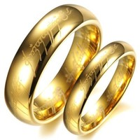 3Aries Fashion Tungsten Carbide Golden Lord-ring king's rings Power Men Wedding Promise Couple Ring Size 9