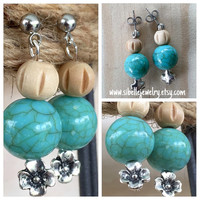 Handmade beaded earrings / silver flower earrings / aqua beaded earrings / wooden beaded jewelry / dangle earrings / boho chic / hippie