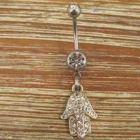 Belly Button Ring - Body Jewelry - Rhinestone Gold Hamsa Hand with Double Clear Gem Stones Belly Button Ring