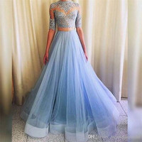 ice blue Prom Dress,long Prom Dress,two pieces Prom Dress,sleeves Prom Dress,party dress,PD704