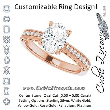 Cubic Zirconia Engagement Ring- The Lina (Customizable Oval Cut Design with Round Band Accents and Three-sided Filigree Engraving)