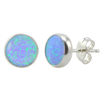 925 Sterling Silver Opal Earrings Iridescent Periwinkle Green Studs 9mm
