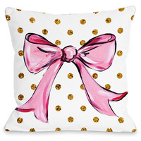 """Pink Bow Dots"" Indoor Throw Pillow by Timree Gold, 16""x16"""