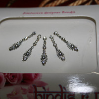 SILVER Bindis/Face Gems Jewels/Fancy Bindis Sticker/Bollywood Bindi Packs/Multi Color Bindis/Forehead Eye Belly Dance Jewelry