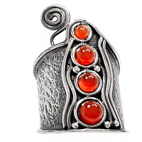 Carnelian Sterling Silver Whimsical Band Ring