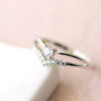 Double Layered Chevron Crystal Ring Jewelry Wedding Bridesmaid Gold Silver gift idea