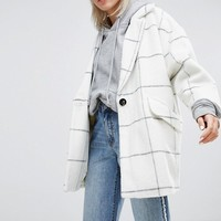 Pull&Bear Premium Longline Check Car Coat at asos.com