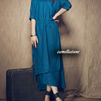 linen evening dress in blue / cocktail dress / long dress (Custom Made)