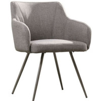Stylish Arm Chair Contoured Back And Seat Home Office Furniture Soft Gray Finish