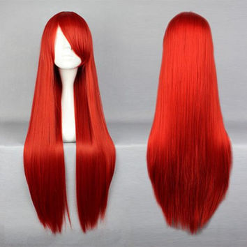 Classic popular Anime Wig 80CM Long Red Straigth Hair Wig With Bangs Fairy Tail-Elza Scarlet Cosplay Wig,New Highlight Ombre Colorful Candy Colored synthetic Hair Extension Hair piece 1pcs WIG-001J