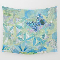 Blue Butterfly Wall Tapestry, Fabric wall spring, floral, pretty, unique