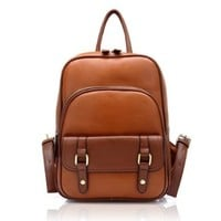 ZLYC Vintage Leather Backpack School Bag (brown)