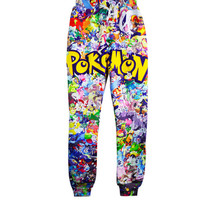 2015 new style 3D jogger pants cartoon pokemon pikachu print jogging pants cute sweatpants for women/men trousers