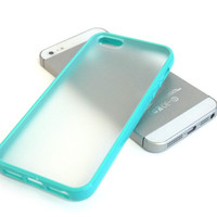 BUMPER Case with Matte Clear Back Cover for iPhone 5 / 5S - Turquoise