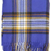 Checked Super-Soft Scarf - Blue