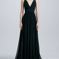 Sleeveless V-Neck Lace-Up Gown