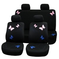 Car Seat Cover Full Set Black with Butterfly Embroidery Fb055 114