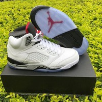 DCCKL8A Nike Air Jordan Retro 5 V White/Cement AJ5 Men Sports Basketball Shoes
