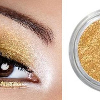 Gold Mineral Eyeshadow, Eyeliner,  All Natural, Vegan. Shimmering Metallic Yellow Gold, Highly Pigmented, Trial Size