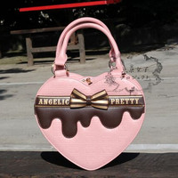 Bow chocolate love letters printed handbag, Lolita lovely new women bags, original bags exclusive design