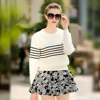 White Long Sleeves Striped Knitted Sweater Floral Swing Mini Skirt