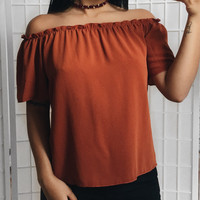 Hailee Off The Shoulder Top (Rust)