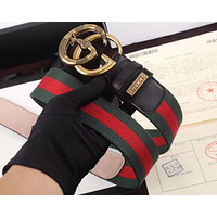 New Men Gucci GG belt Black Leather Gucci Belt With Gold Buckle309