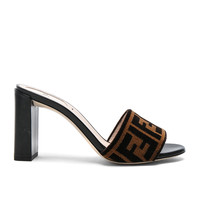 Fendi Logo Mules in Black & Tan | FWRD