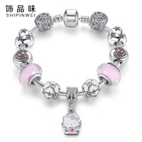 Cute Cat Hello Kitty Charms Fit Original Bracelet Bangle Murano Glass Beads Bracelet for Women Children Girl DIY Jewelry