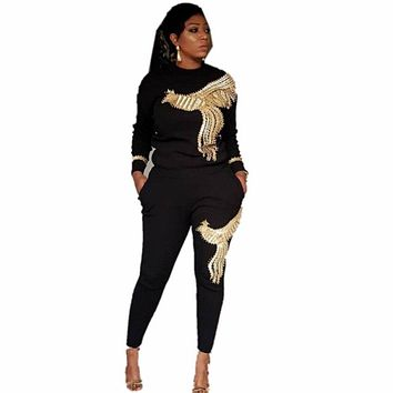 African Sets For Women Beading Sequined African Elastic Bazin Baggy Pants Rock Style Dashiki Sleeve Famous Suit For Woman