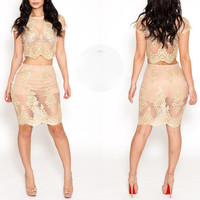 Nude Floral Lace Cropped Top and Skirt Set