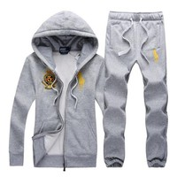 Polo Lauren Ralph autumn and winter new trend hooded cardigan men's running sports suit two-piece Grey