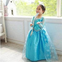 Fancy Girls Princess Anna Elsa Cosplay Costume Kids Girl Role-play Dress up For Halloween Carnival Party fantasia roupa infantil