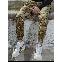 Men's Street Casual Camouflage Military Trousers From Peddler To Suspender
