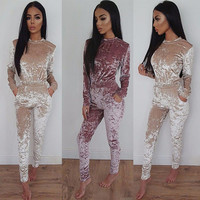 Autumn Long Sleeve Jumpsuit Gold Velvet Warm Soft Playsuit Womens Pleuche Party Club Rompers Overalls Long Pants Winter 80226