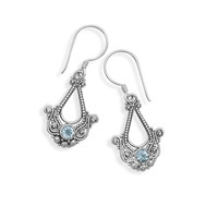 Sterling Silver Sky Blue Topaz Ornate Earrings