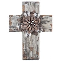 Gray Cross with Rustic Flower Center   Shop Hobby Lobby
