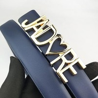 DIOR fashion casual men's and women's belts hot letter gold buckle belt Dark Blue