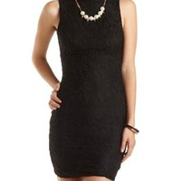 Lace Turtleneck Bodycon Dress by Charlotte Russe - Black