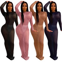 Women Sexy See Through Long Sleeve Backless Maxi Dress